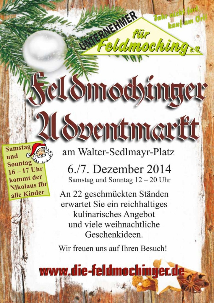 Flyer zum Feldmochinger Adventsmarkt 2014
